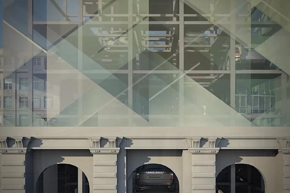 Механизированная парковка за фасадом исторического здания