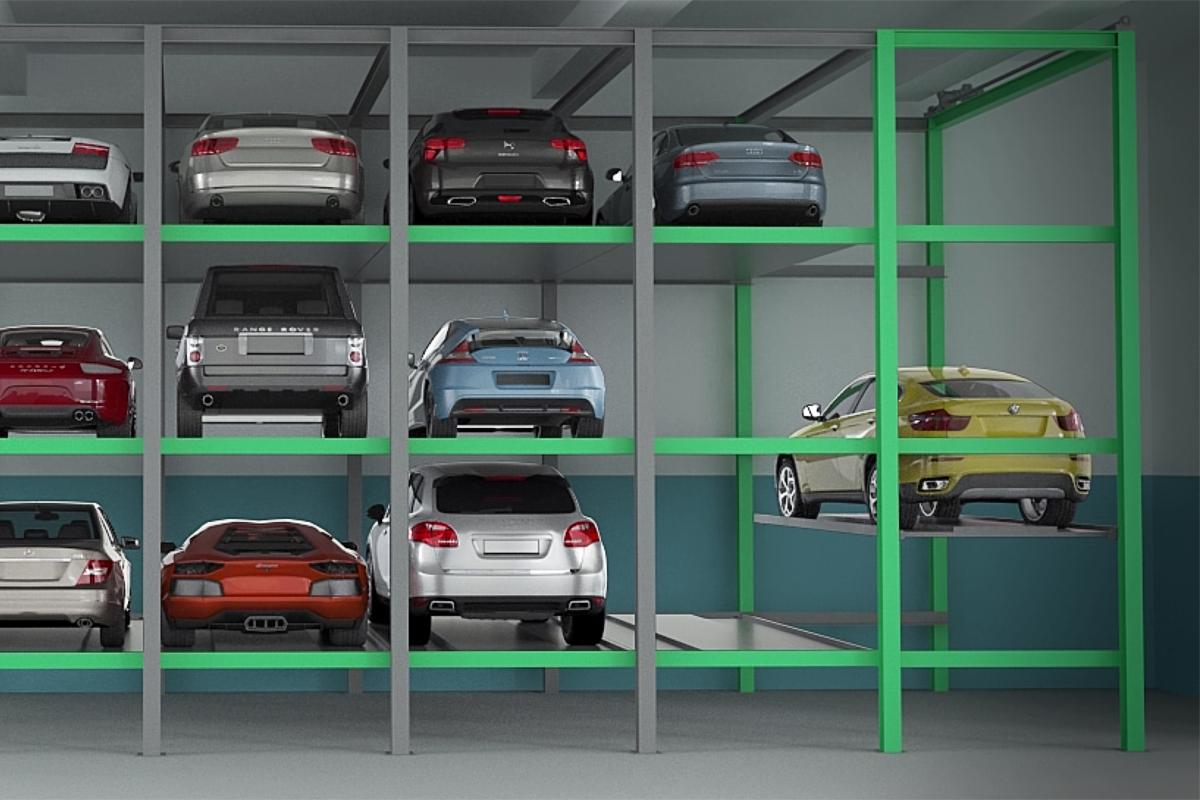 Автомобили в ячейках хранения паркинга Оптима