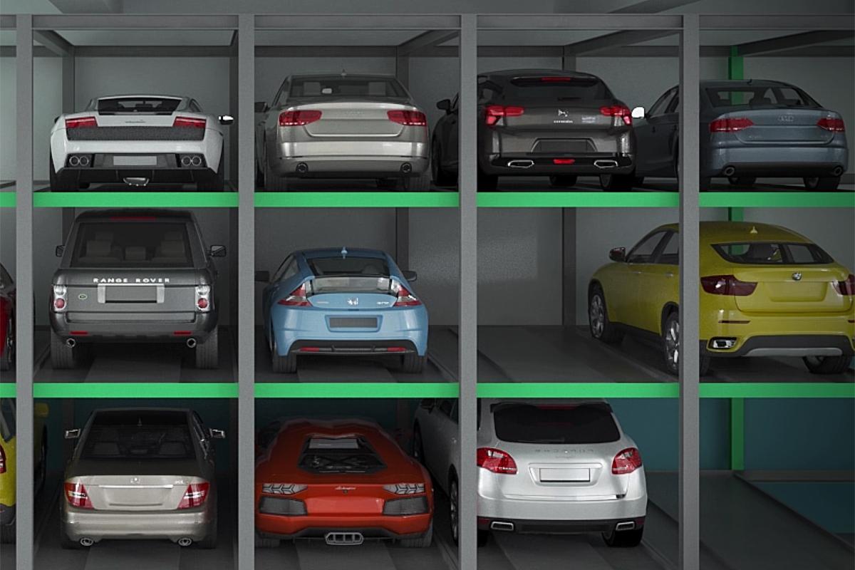 Парковочные места в автоматизированной парковке Оптима