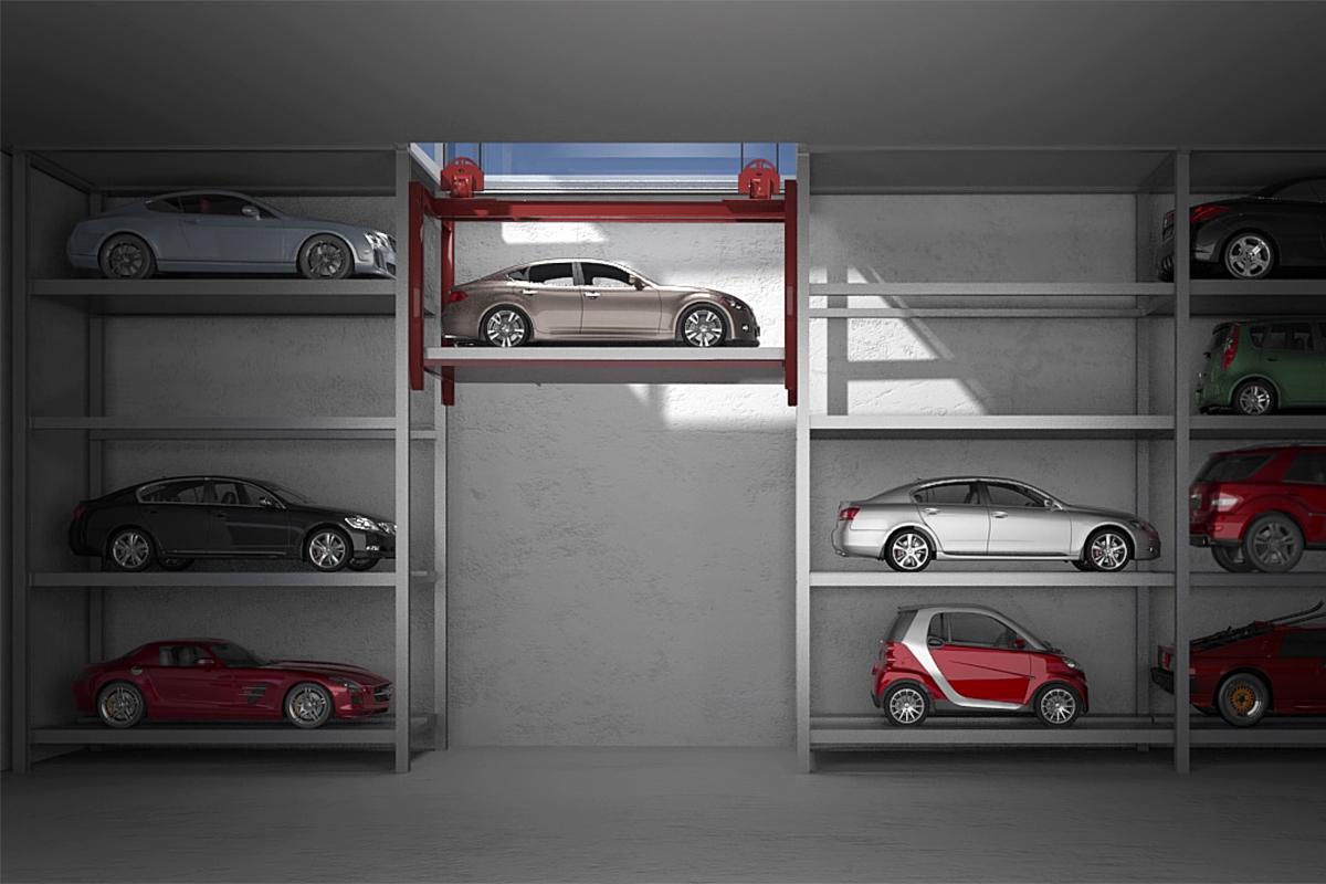 """Автомобили в подземном паркинге типа """"башня"""""""