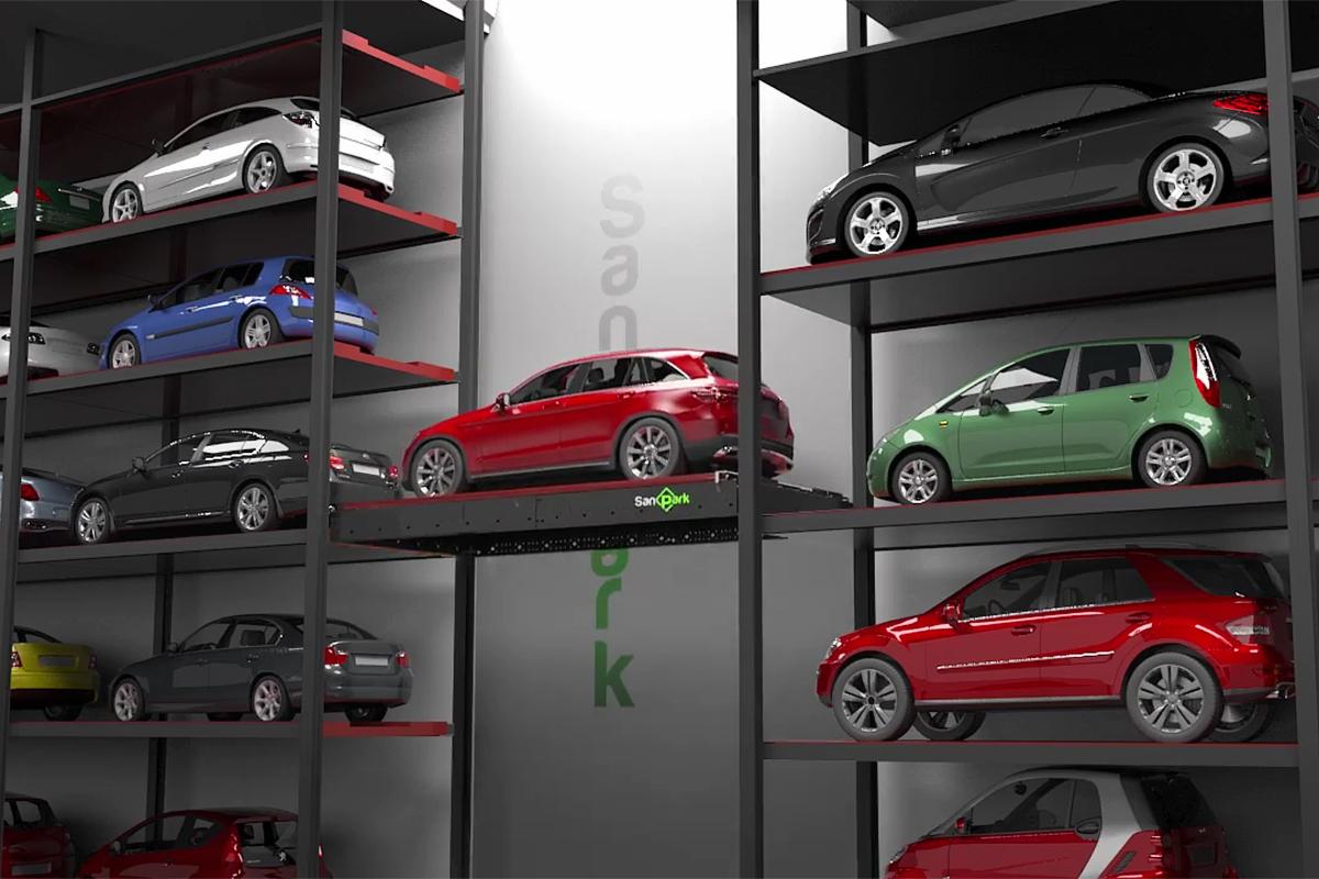 Хранение машин в башенной парковке