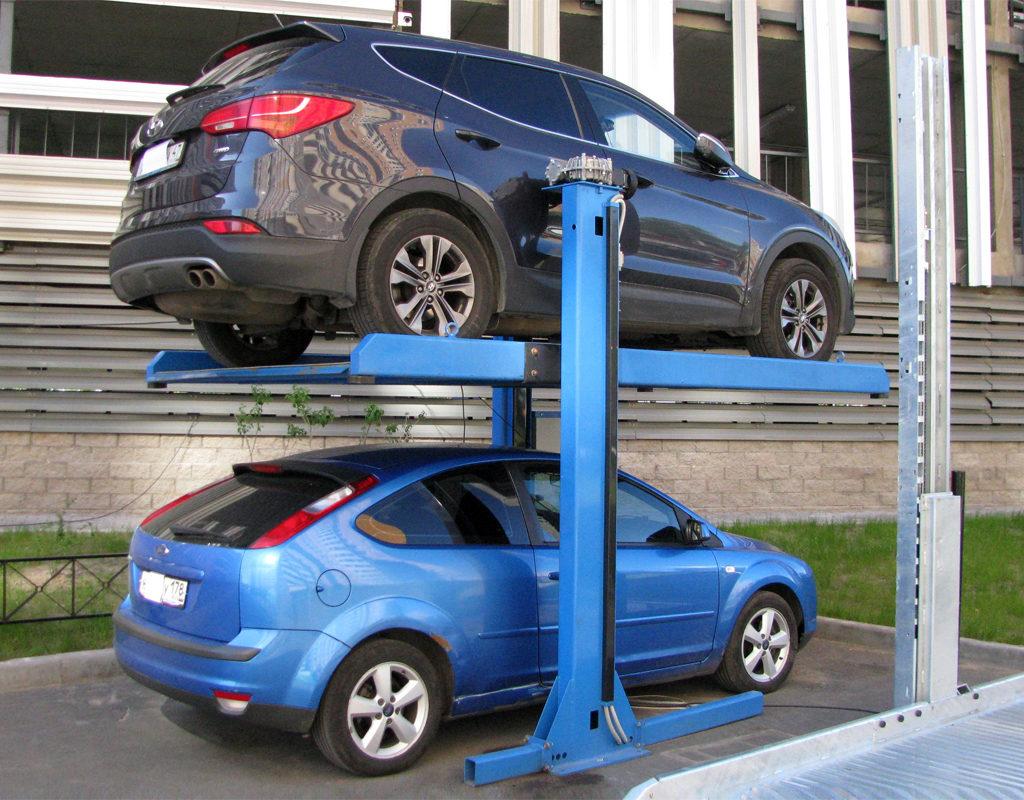 Электромеханический парковочный подъемник зависимого типа
