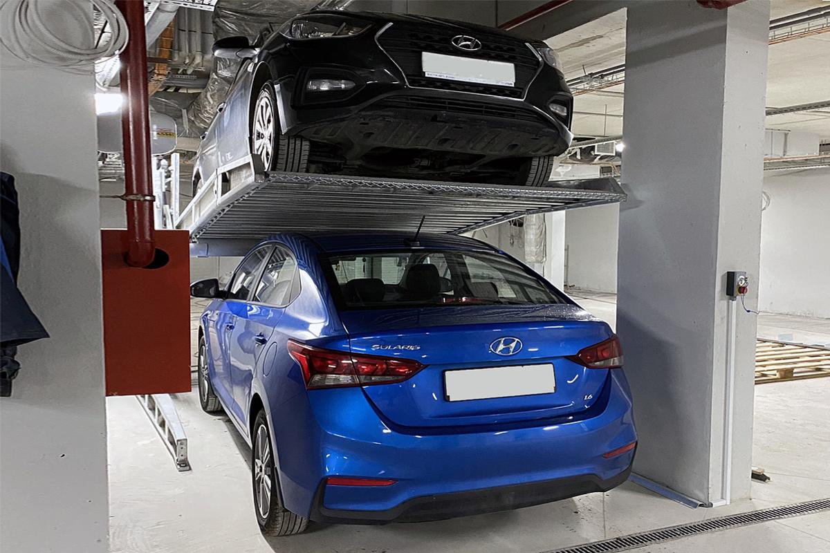 Двухуровневый парковочный модуль для низких потолков