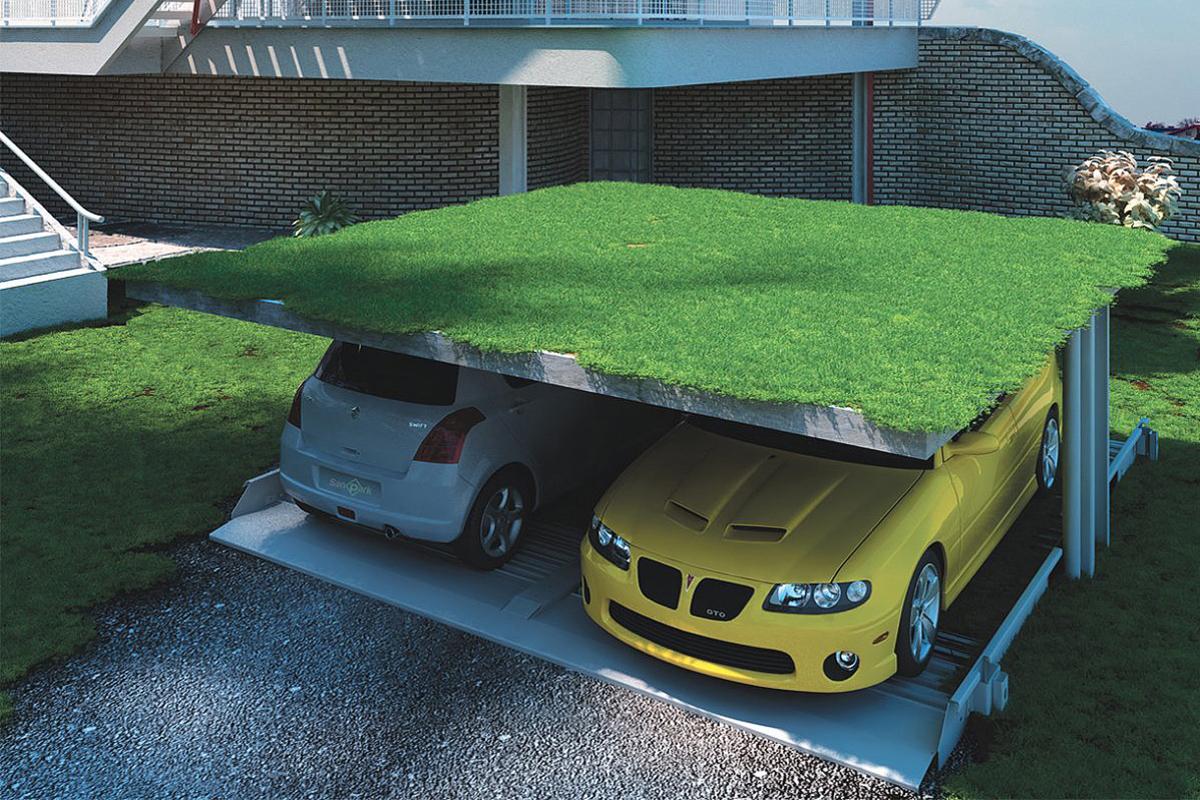 Газон на крыше парковочной системы