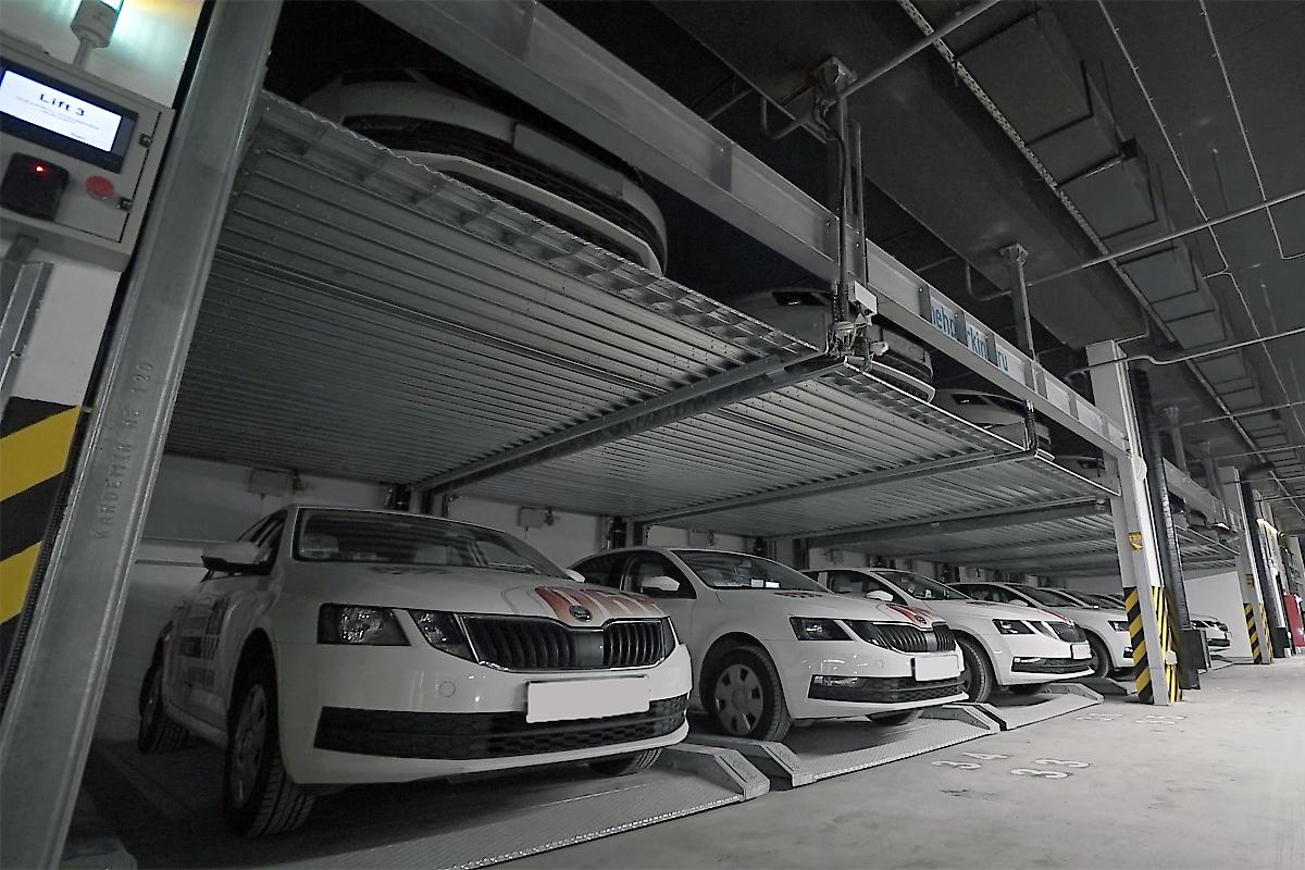Механизированная парковка в подземном паркинге