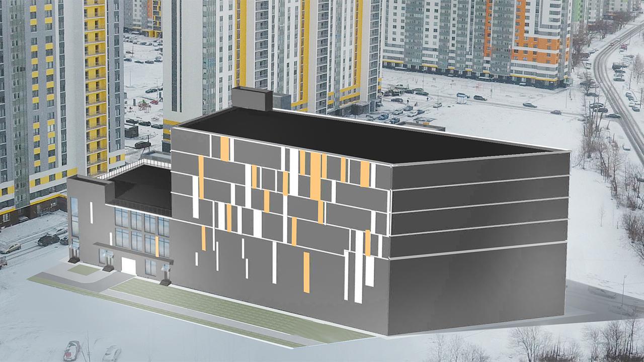 3D модель для проекта паркинга с коммерческими помещениями