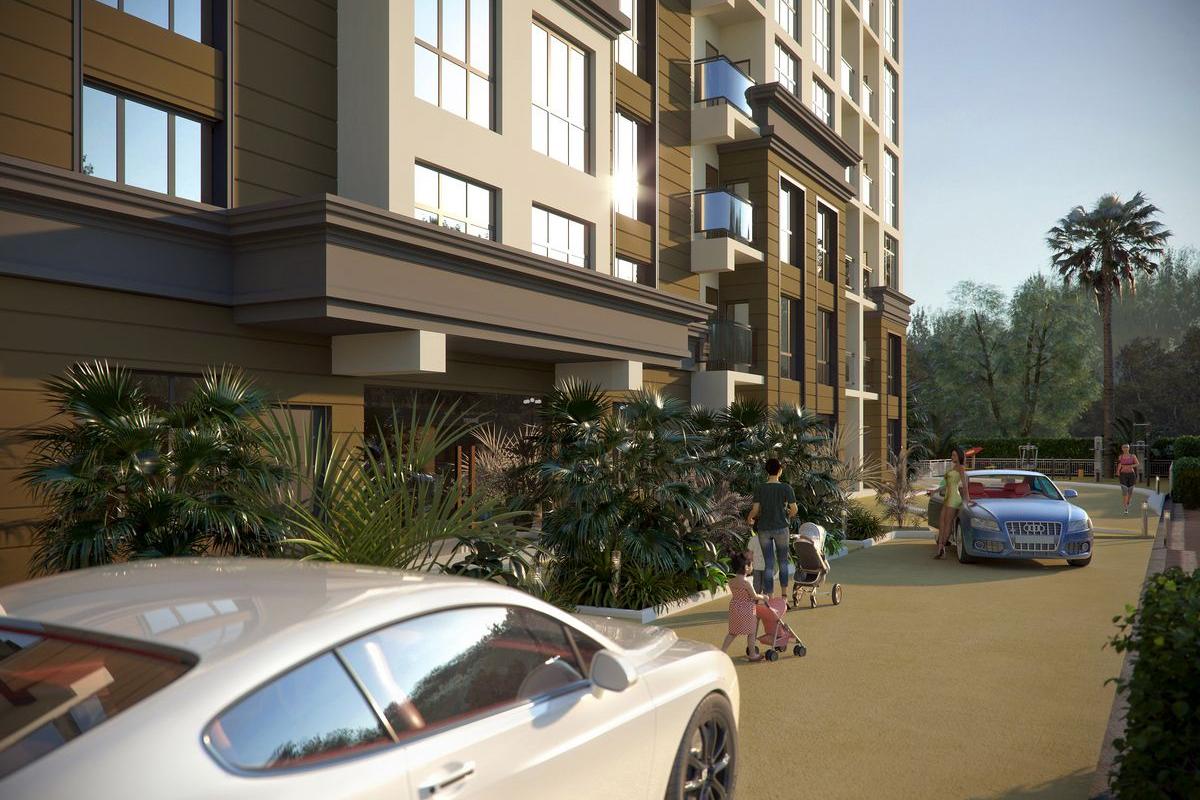 Двор жилого комплекса с парковкой